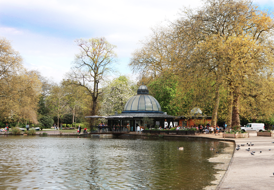 The Pavilion cafe overlooking the West Boating Lake in Victoria Park, East London