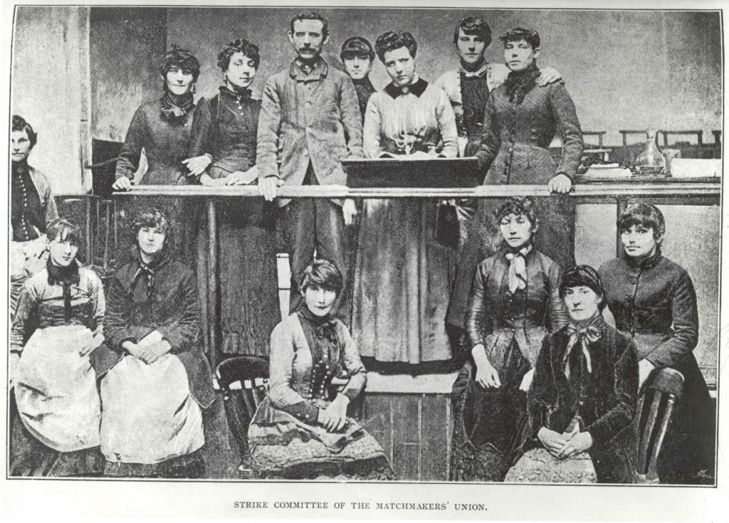 Black and white photograph of a committee hearing for the Match Girl Riots.