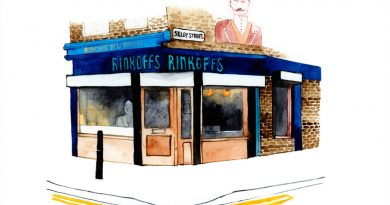 Illustration by Eleanor Crow of Rinkoffs bakery on Vallance Road