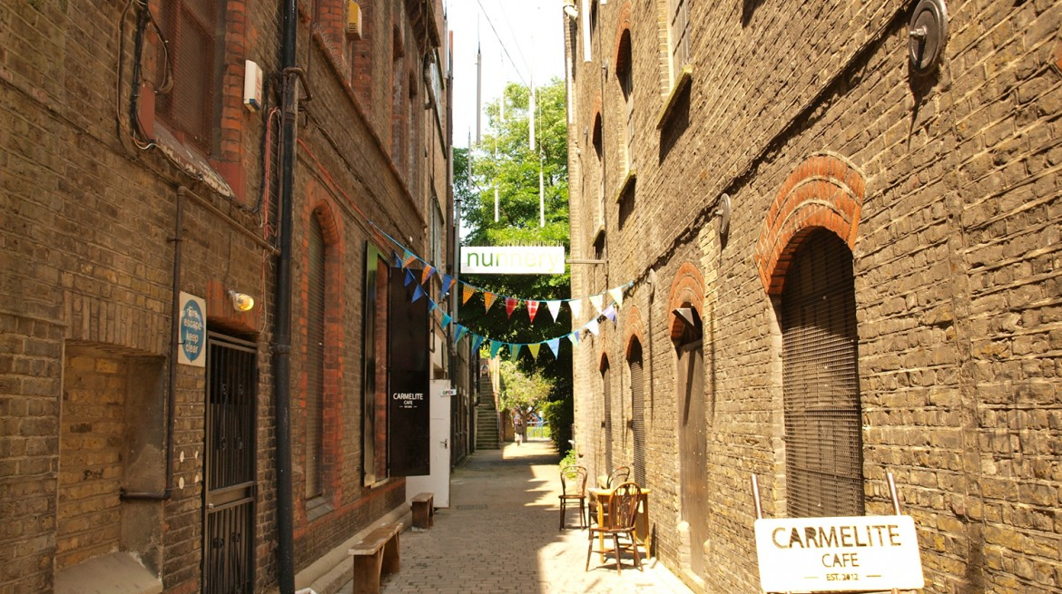 The alleyway outside the Nunnery Gallery and Carmelite Cafe in Bow, East London.