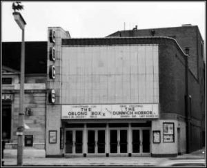 Black and white photograph of the outside of Genesis cinema 1970