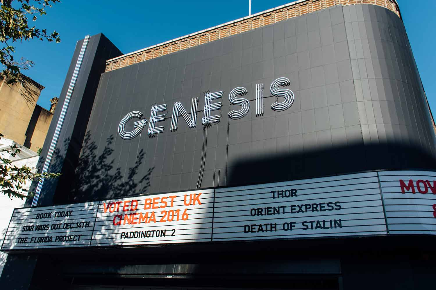 Exterior of Genesis Cinema in Mile End, East London