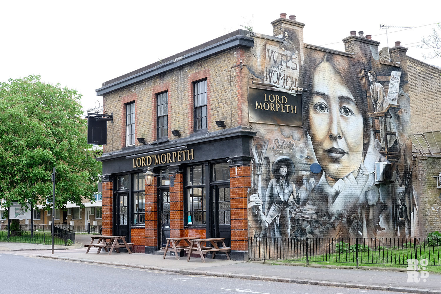 Lord Morpeth pub Ford Road Bow with Suffragettes mural on side of building