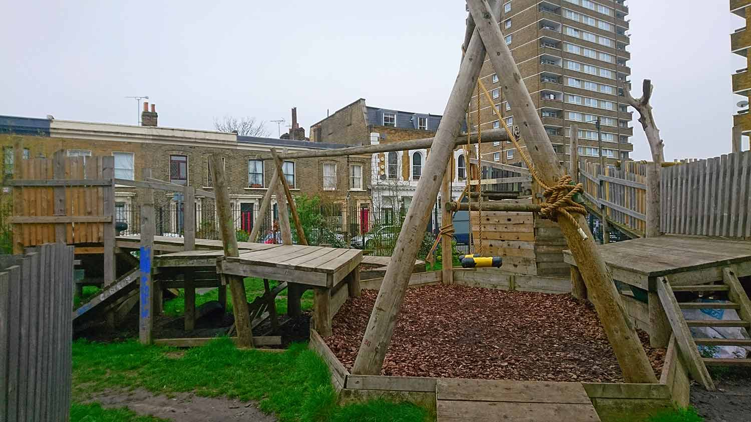Playground equipment at Roman Road Adventure Playground