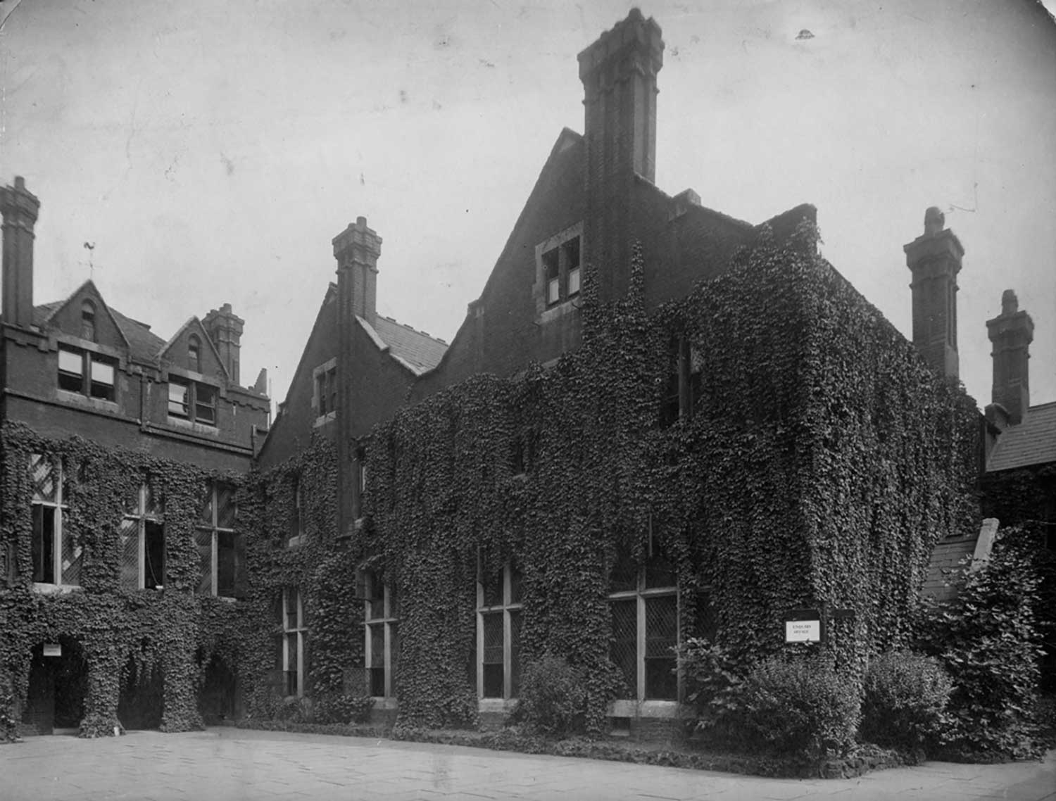 Archive image of the exterior of Toynbee Hall, in Aldgate, East London