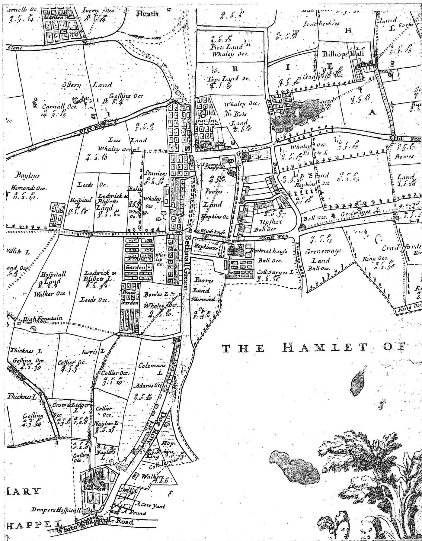 Black and white map of Bow from 1703