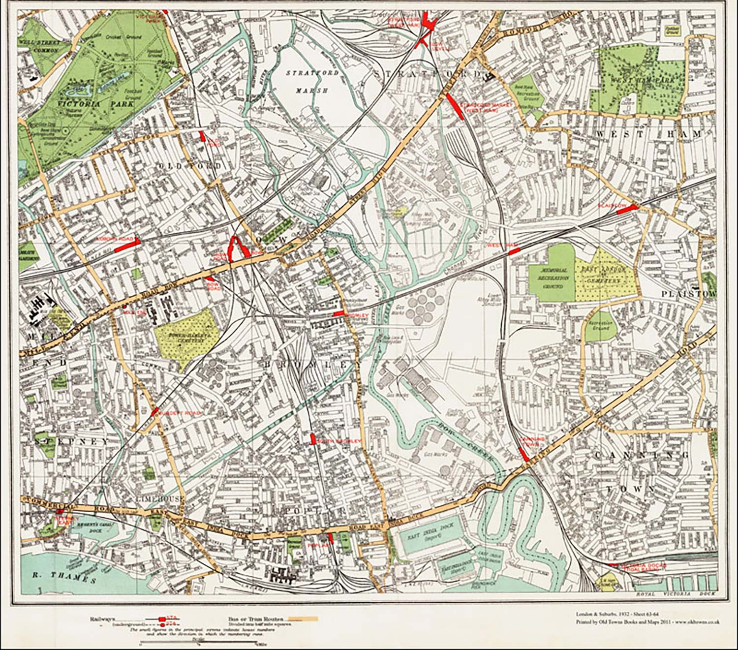 Train track map of Tower Hamlets from 1932