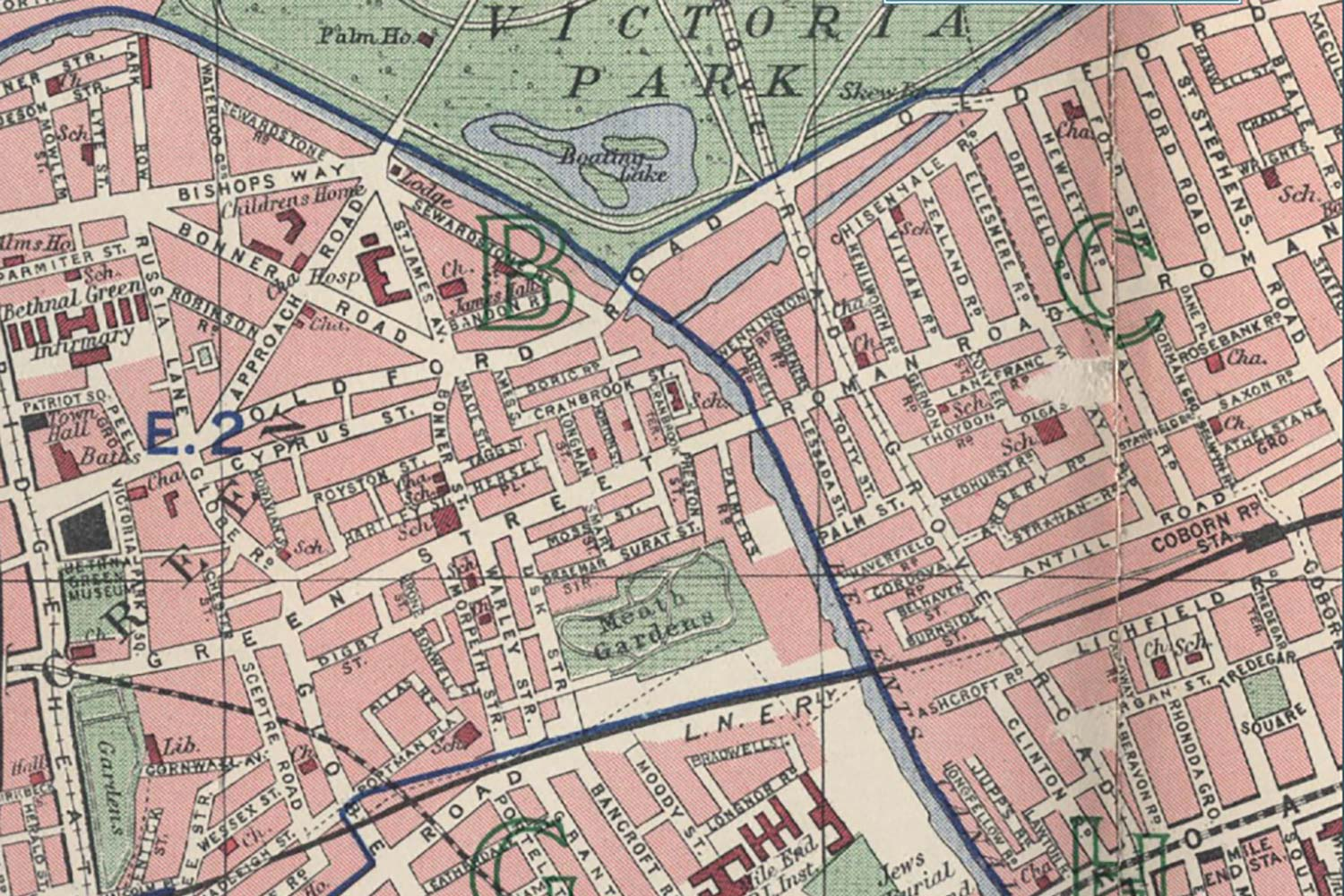 1940s map of the merging of Green Street and Roman Road.
