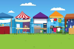 Cartoon image of market stalls used at the Festival of Communities, Stepney Green Park