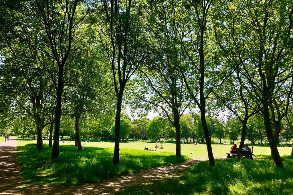 Photograph of people in Mile End Park, East London