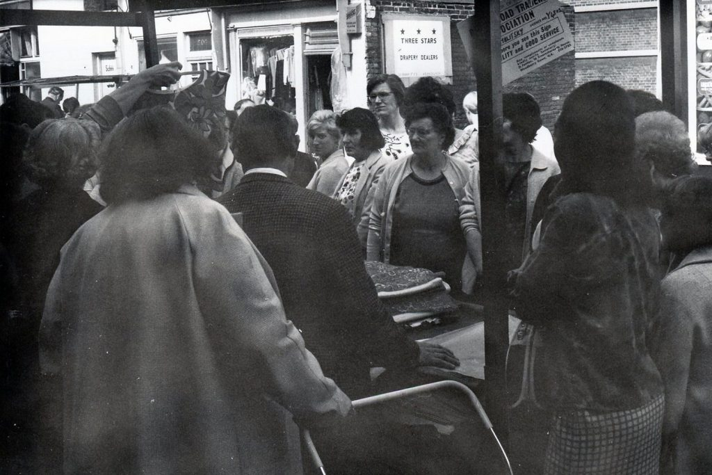 Black and white photograph of Roman Road Market in 1968