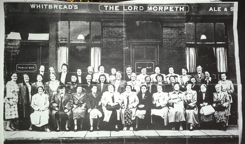 Bow Suffragettes outside Lord Morpeth Pub