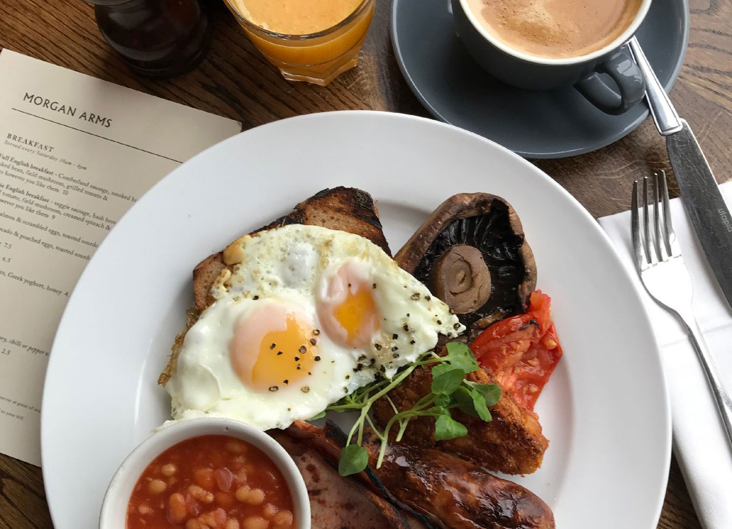 The Morgan Arms pub Bow full english fry up