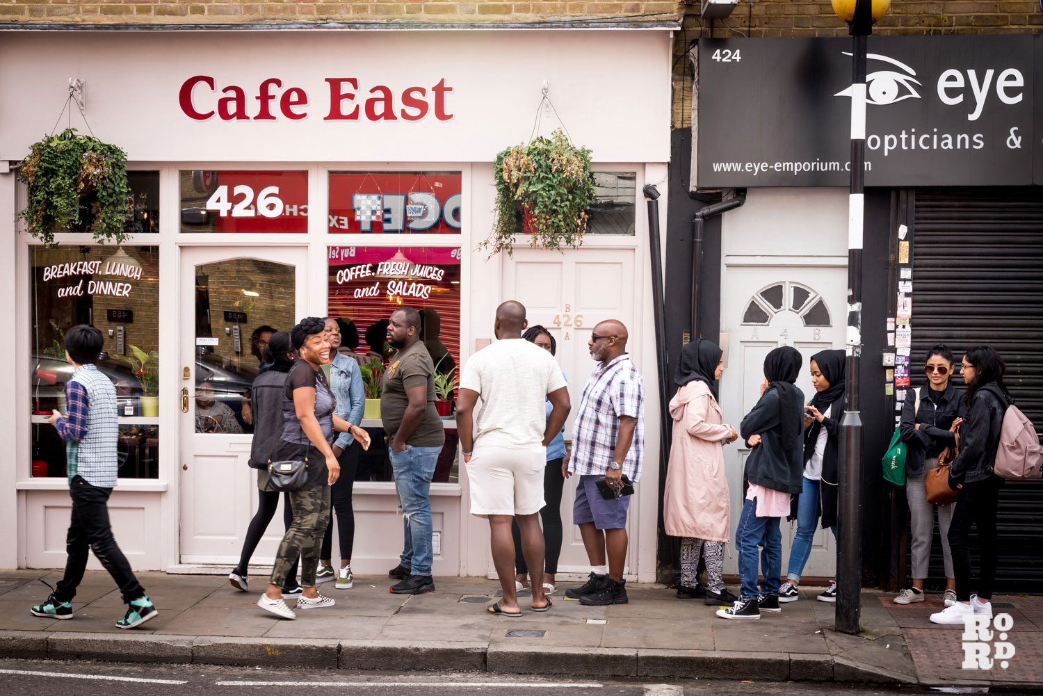 Queue outside Cafe East Roman Road, Bow