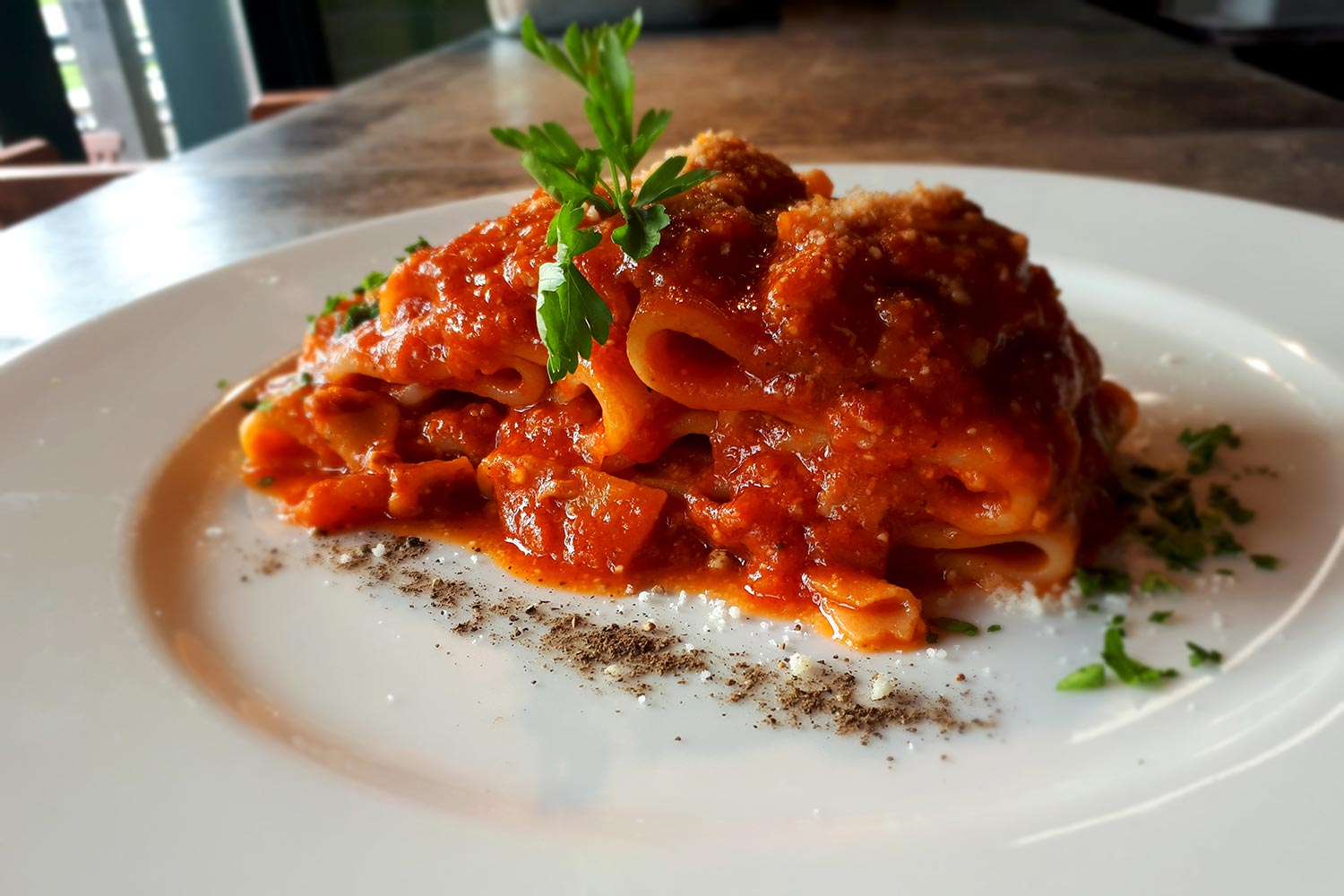 Photo of Paccheri All'Amatriciana pasta at Gotto Trattoria in East London