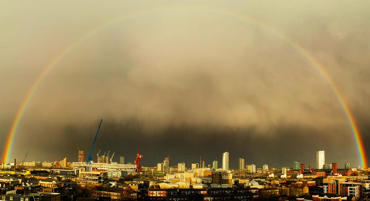 Photo of a rainbow over Queen Elizabeth Olympic Park