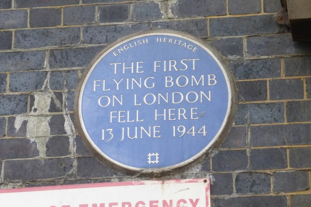 Flying bomb plaque in Mile End from World War II