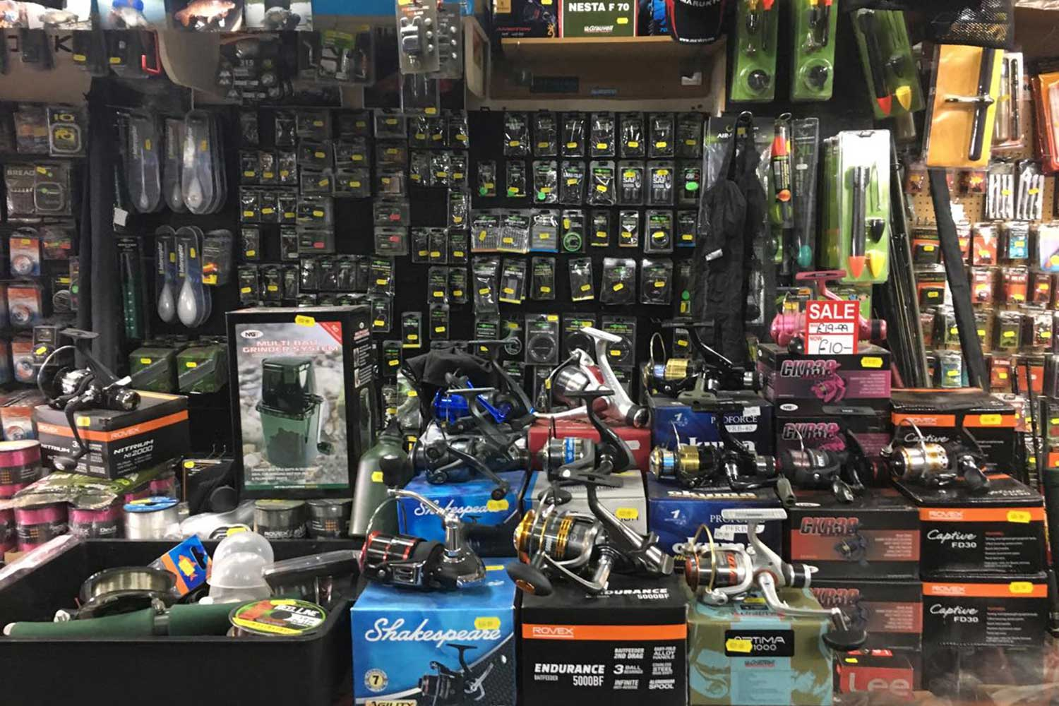 Fishing tackle at the shop on Roman Road