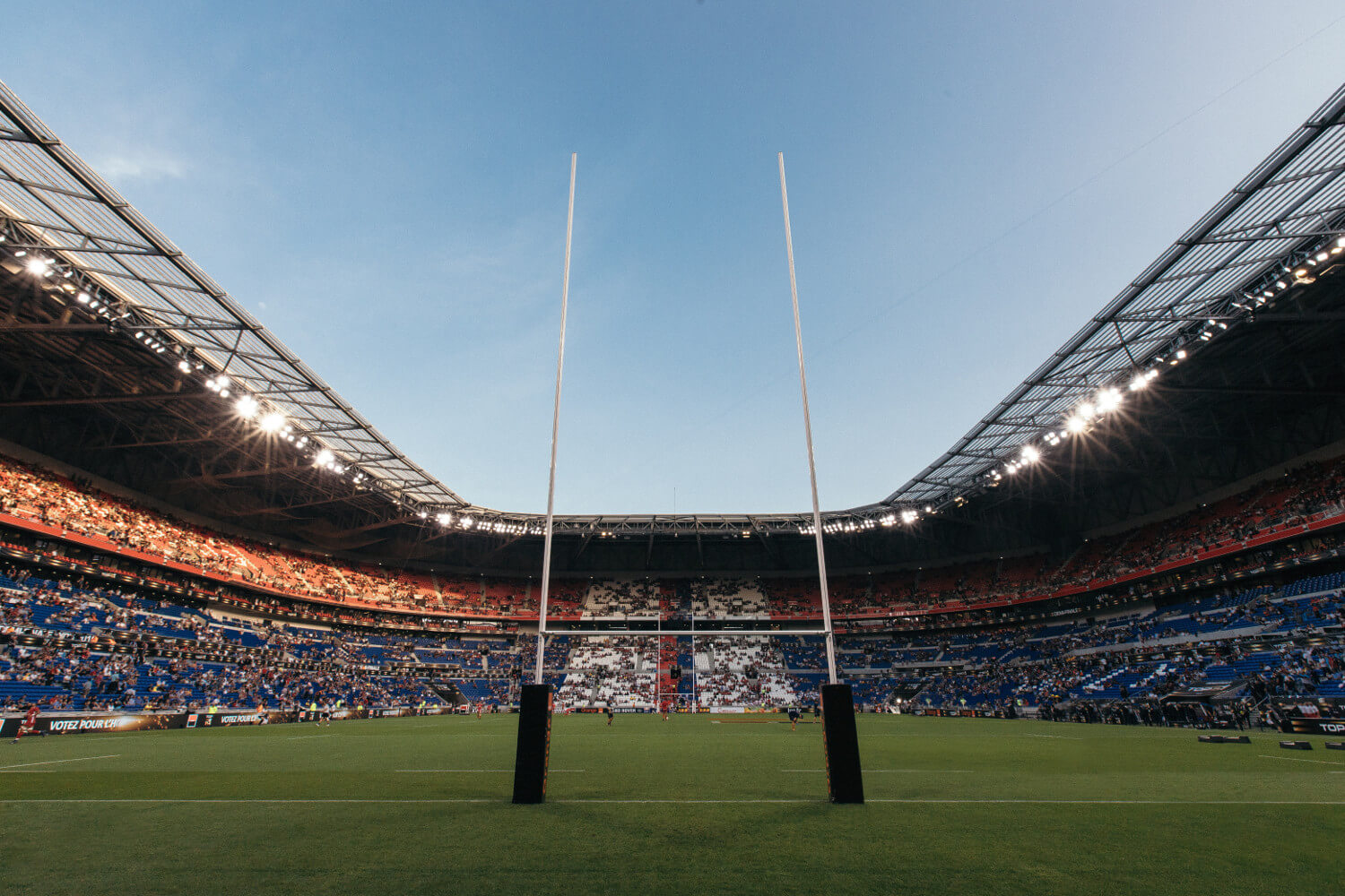 Lyon stadium filling up before a rugby match