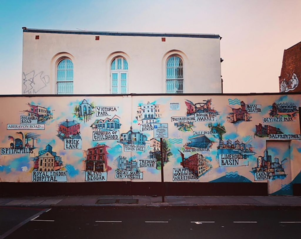 Mural of East End landmarks on a wall on Aberavon Road in Mile End