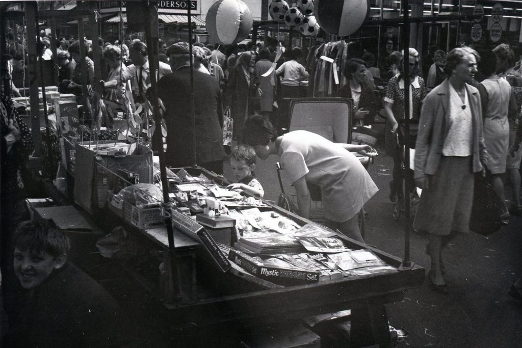 Black and white image of Roman Road Market, 1968