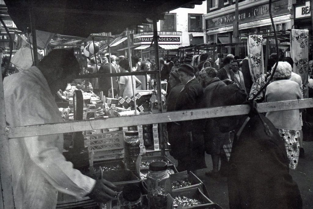 Black and white photograph of the market