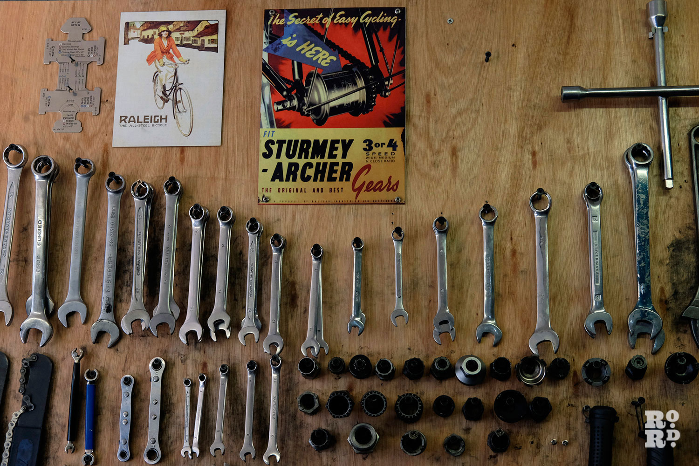 Tools at bike mechanics roman road paradise cycles