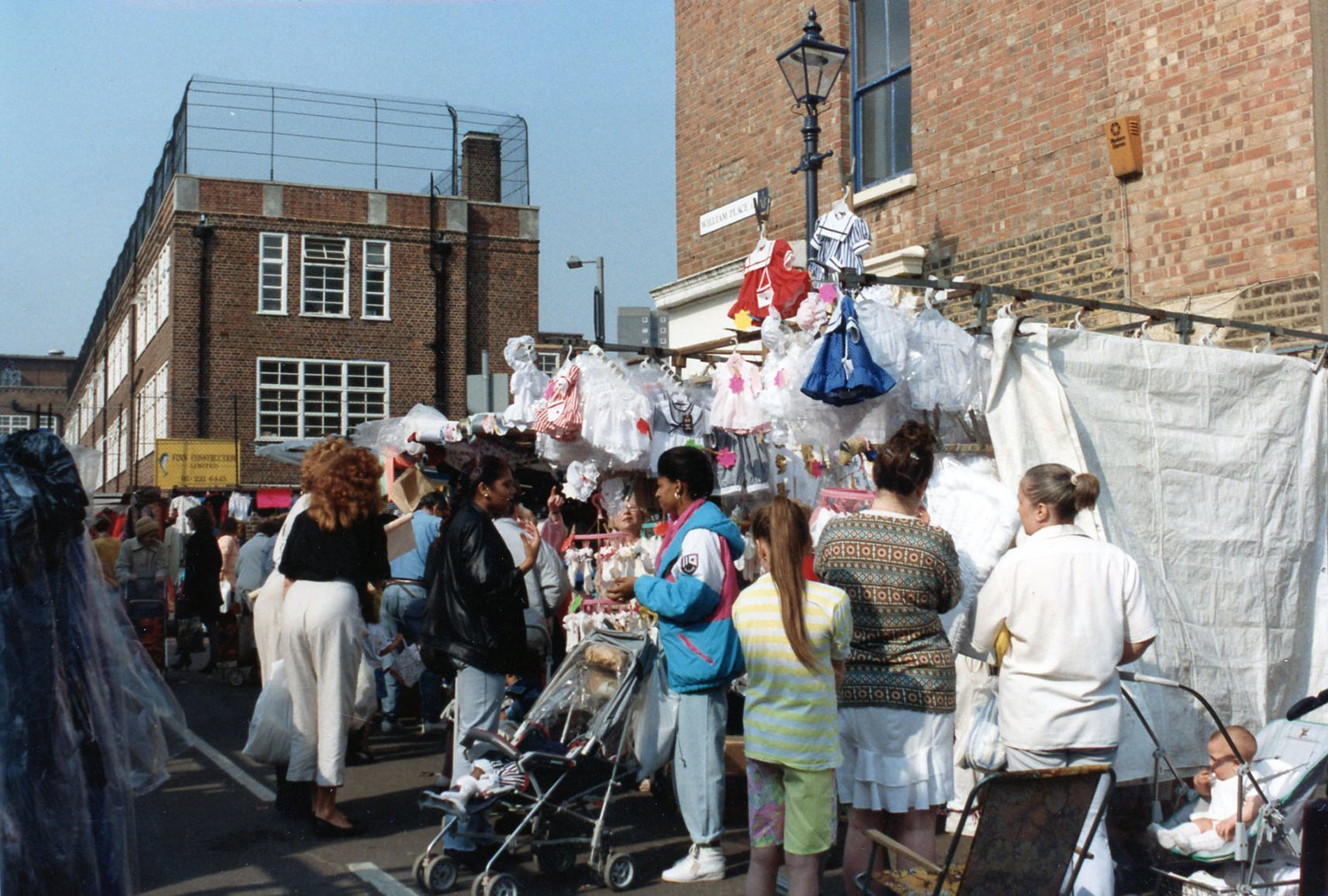 Archive image of Roman Road Market, East London, from 1990s