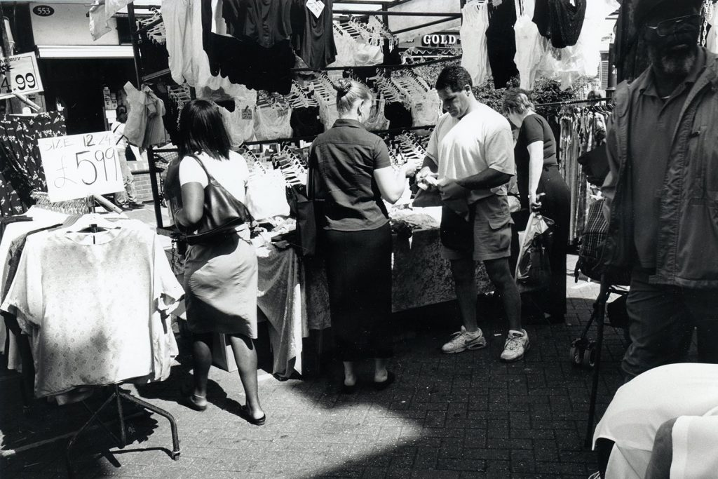 Black and white photograph of Roman Road Market in 1999