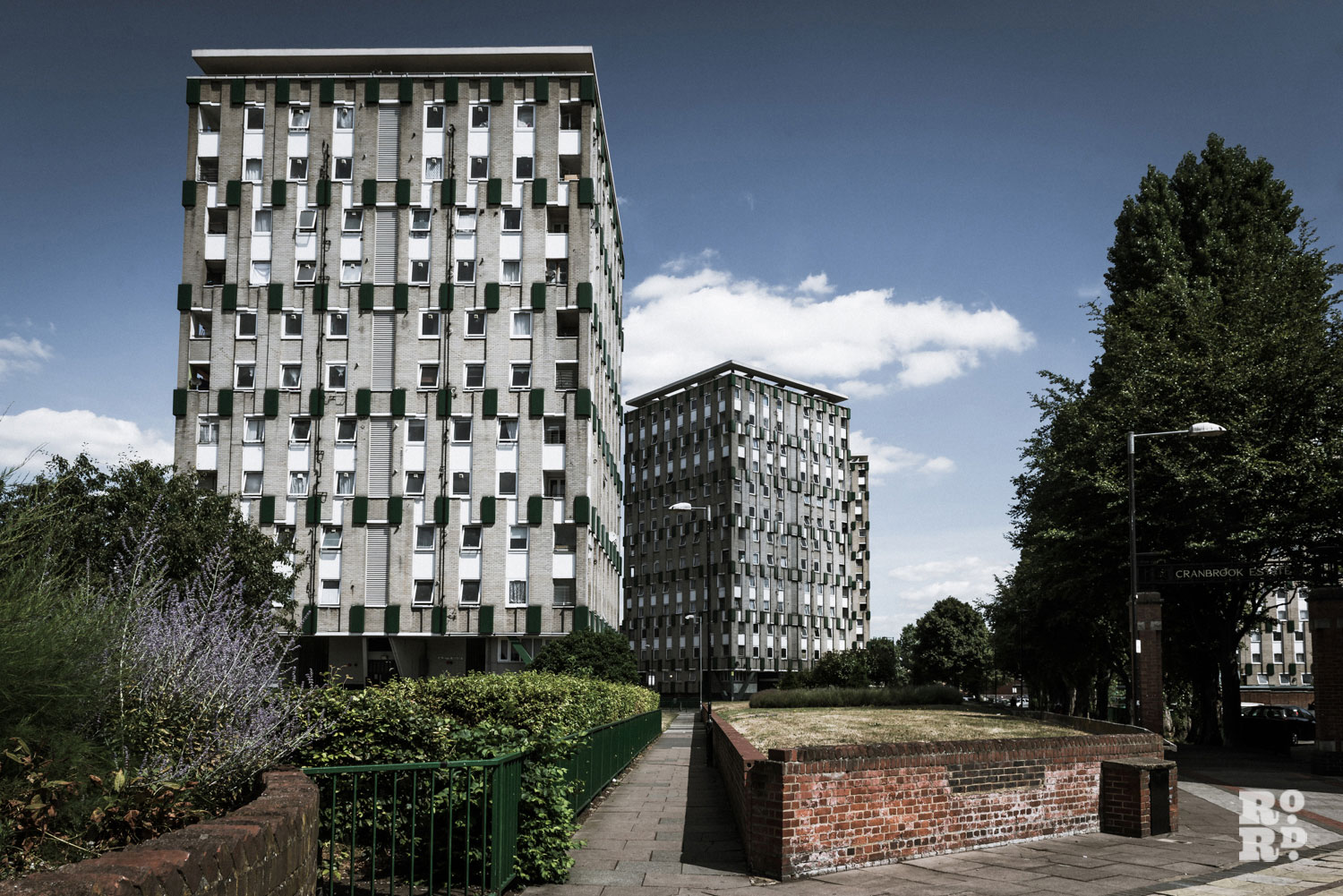 Claire Watts photograph of Cranbrook Estate 1 apartment buildings