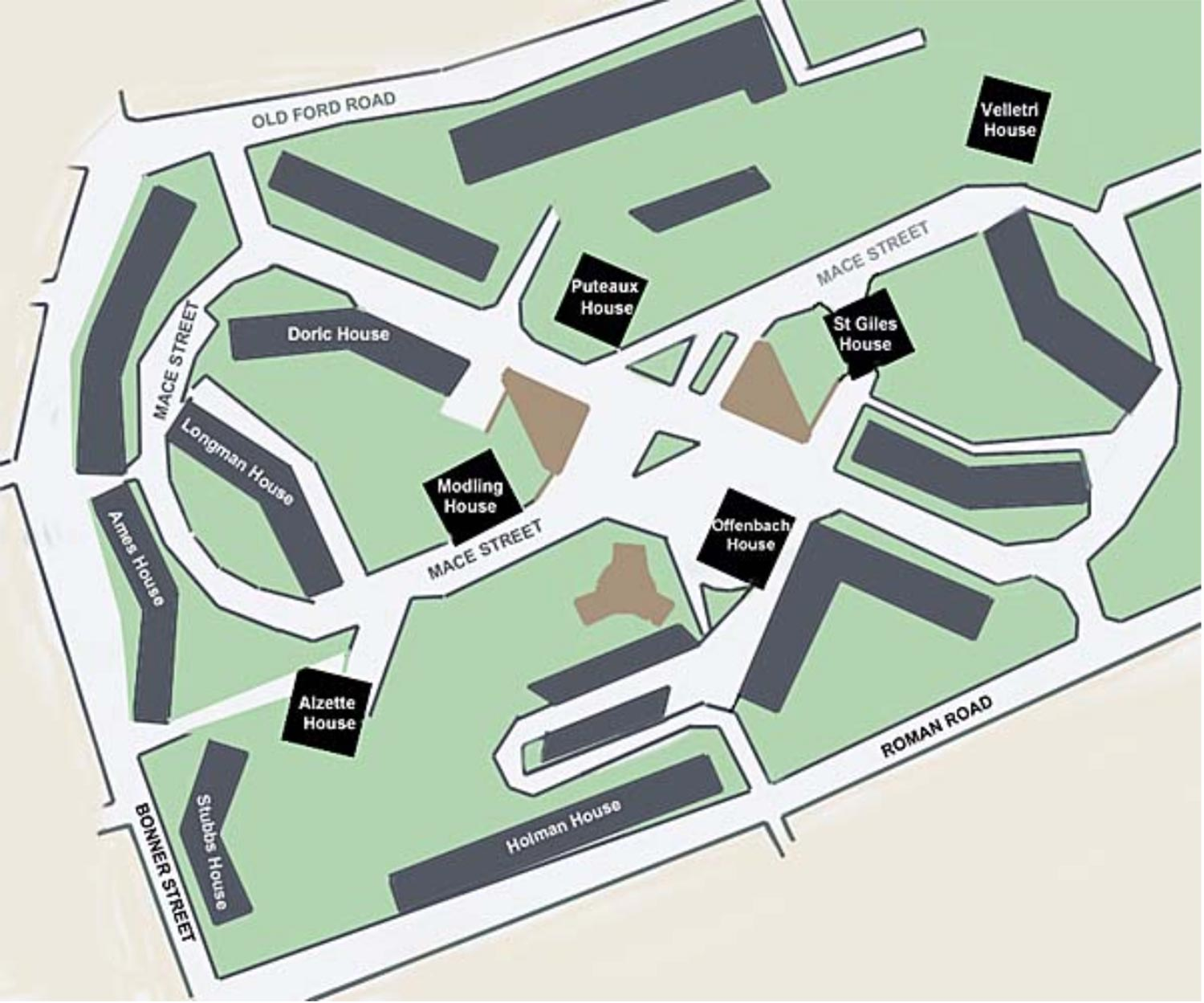 Map of the Cranbrook estate