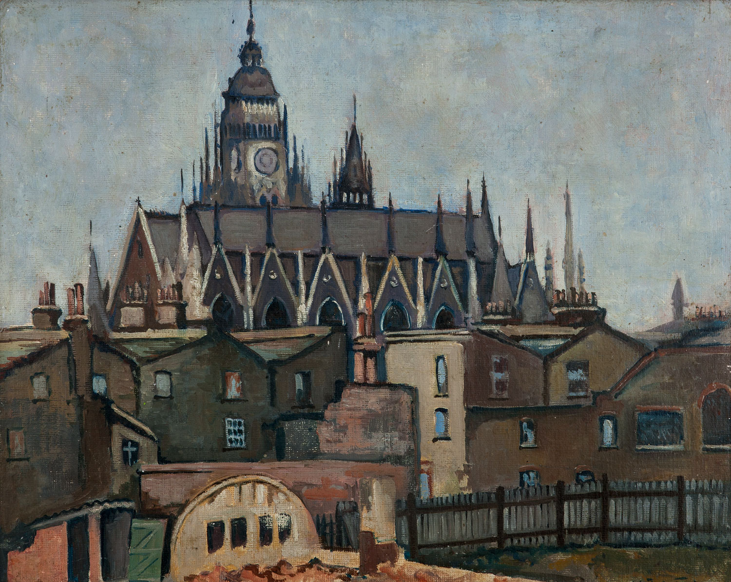 View of the now demolished Columbia Market in oils