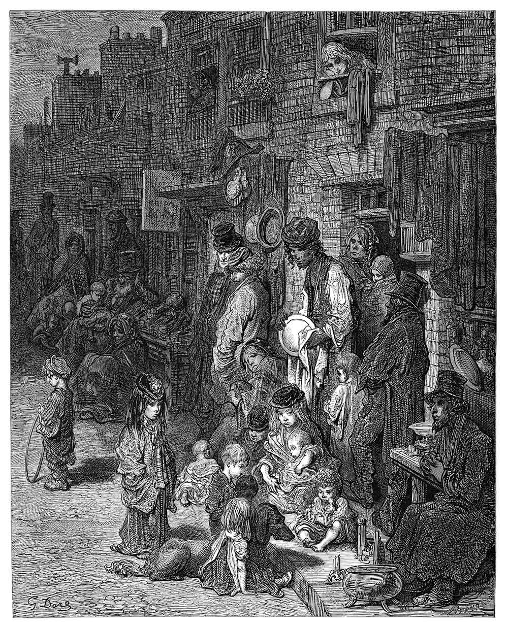View of Wentworth street and its inhabitants, black and white engraving