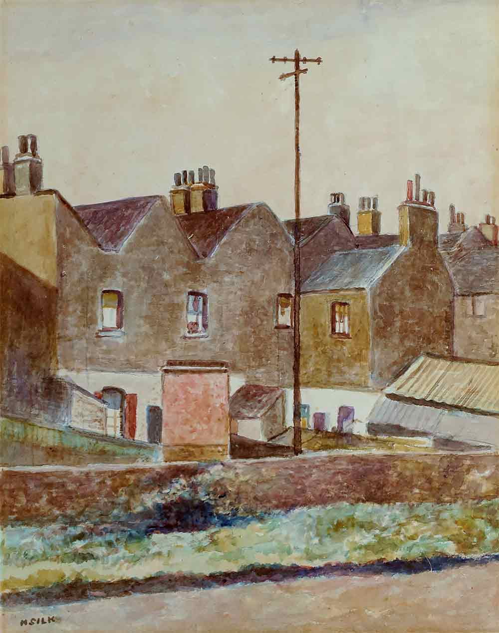 Painting showing back view of East London terraced houses