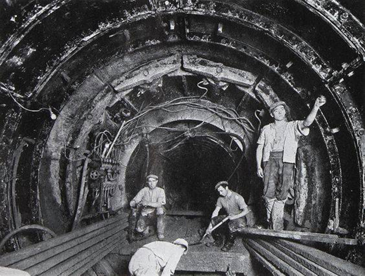 Construction of Mile End tube station in 1946