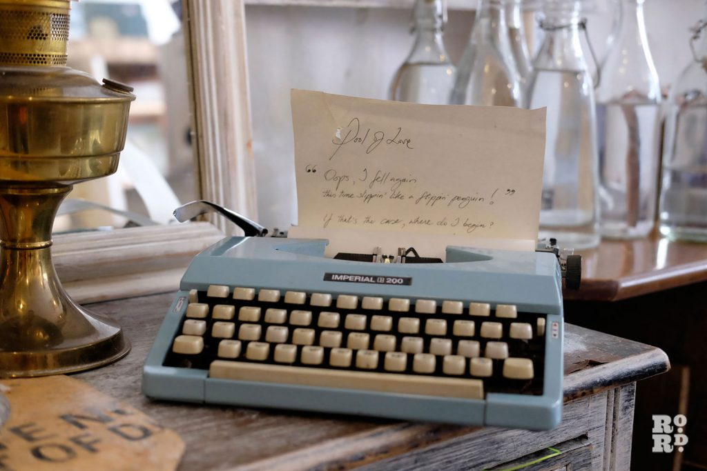 Vintage pale blue typewriter