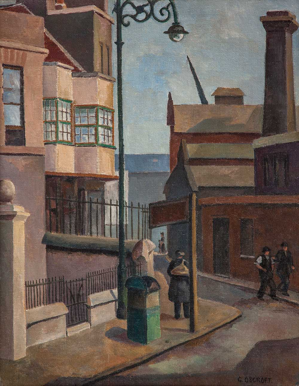 Painting of old houses in Bow with a