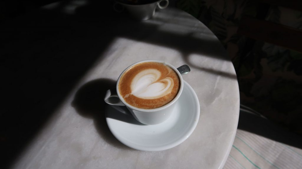 Cappuccino on a marble table