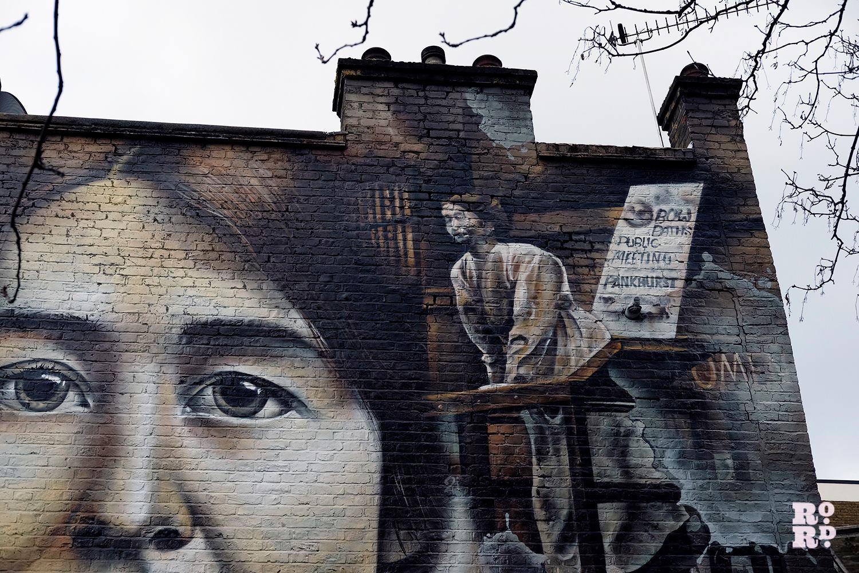Photograph of Sylvia Pankhurst mural