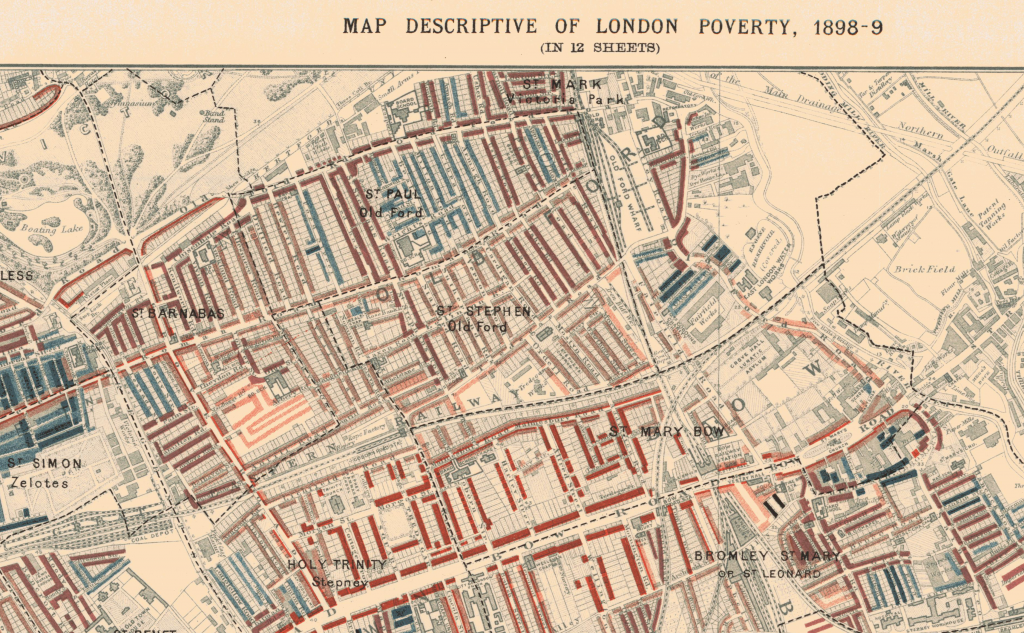 Detail of Charles Booth's Map of London Poverty 1898-89 Sheet 1 showing Roman Road