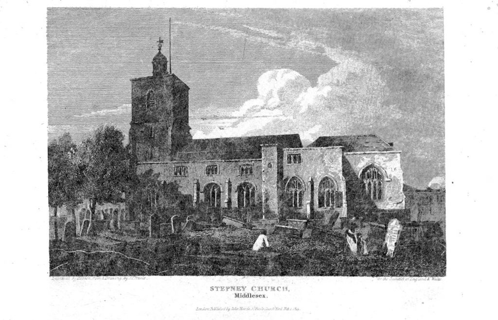 Engraving of an old church