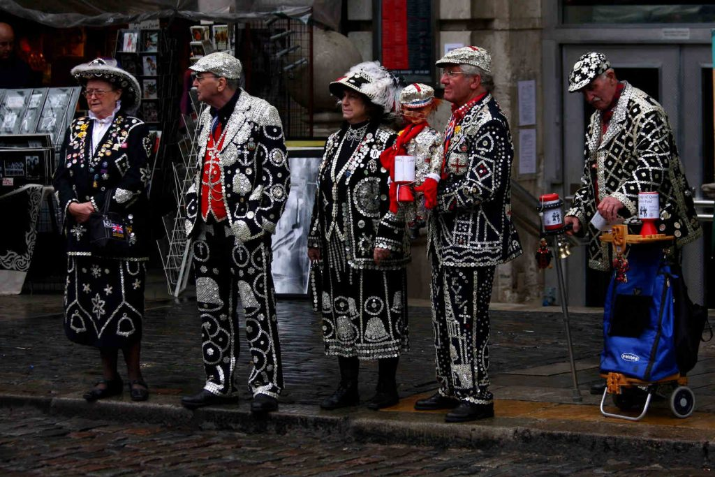 Pearly Kings and Queens raising money for charity on a Covent Garden Street