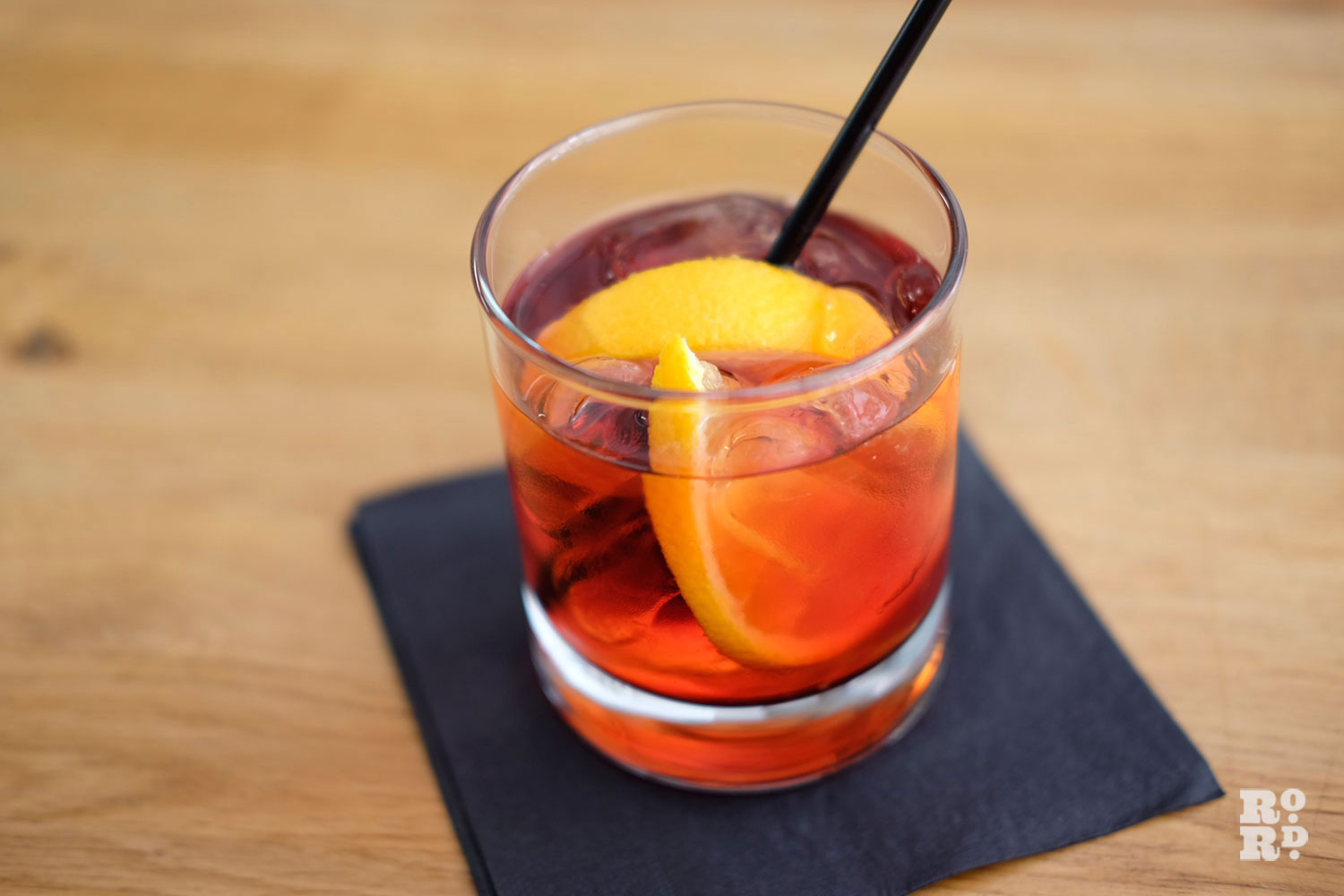 Negroni cocktail on a napkin