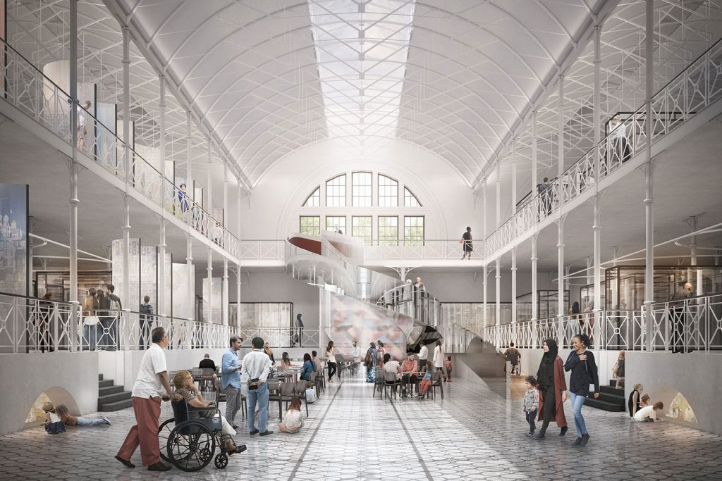 Architect's rendering of interior of transformed V & A Museum of Childhood with interactive spiral staircase