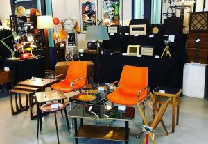 Vintage furniture at the Vintage Flea Fair at York Hall, Old Ford Road