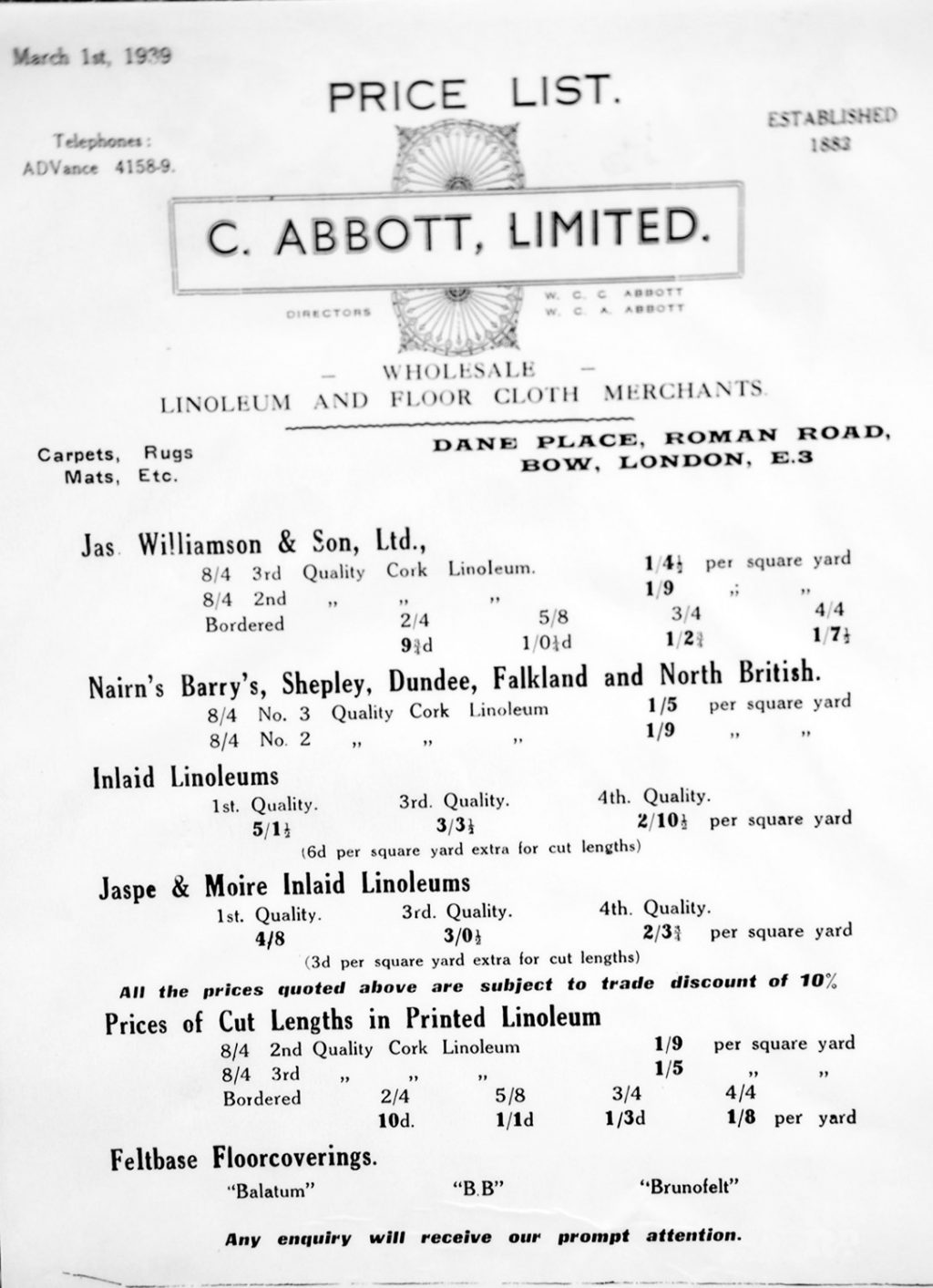 Abbott, old price list
