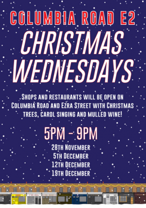 Colmbia Road Christmas Wednesdays flyer