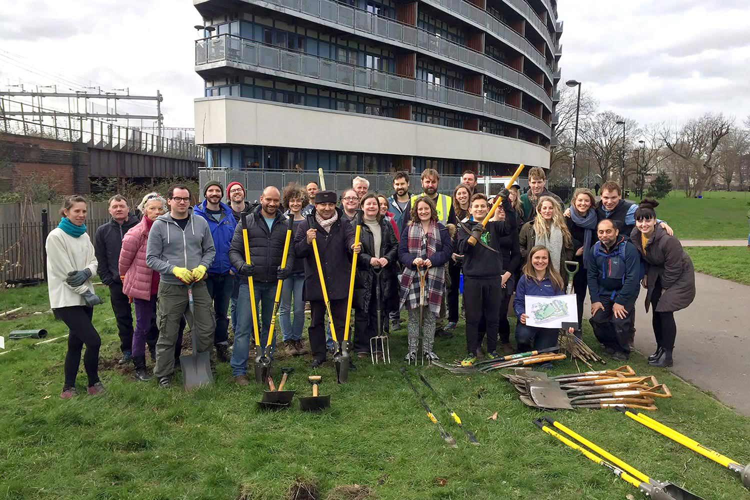 Group of volunteer gardeners at Meath Gardens in East London