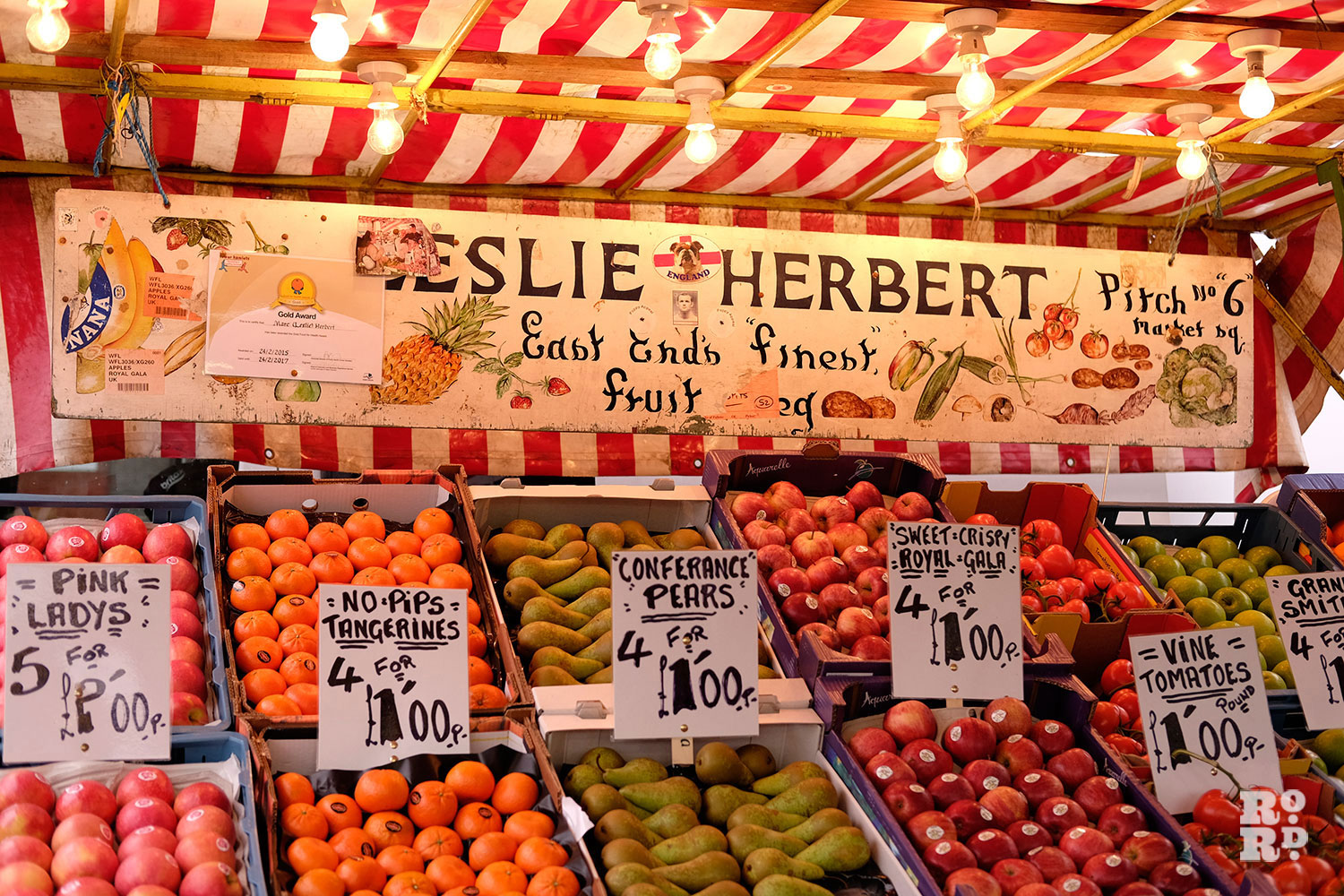 Fruit and veg on Leslie Herbet market stall on Roman Road in Globe Town, East London
