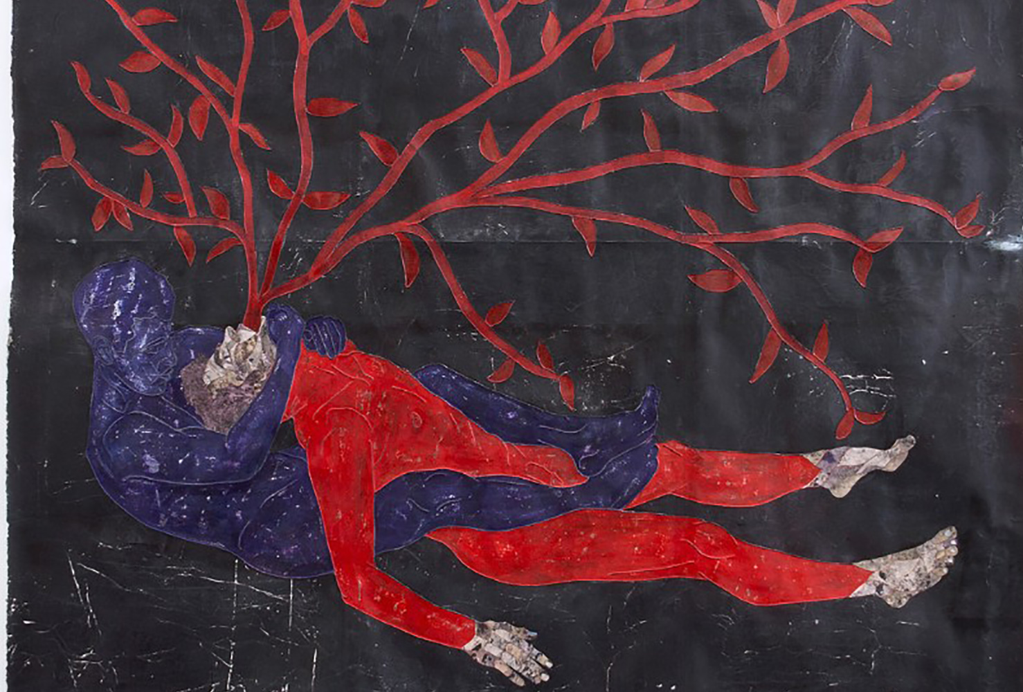 Contemporary art by Felipe Baeza, man lying on the foor, roots coming out of his body
